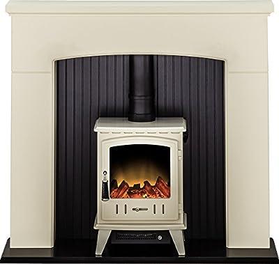 Adam Derwent Stove Suite in Cream with Aviemore Electric Stove in Cream Enamel, 48 Inch