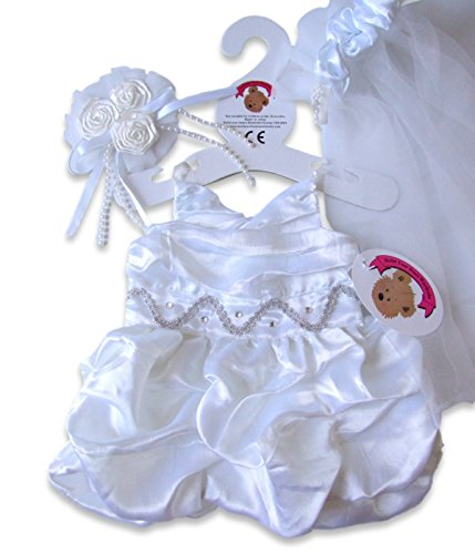 Build a Bear fit long Wedding Dress Veil & Flowers Teddy Bear Clothes