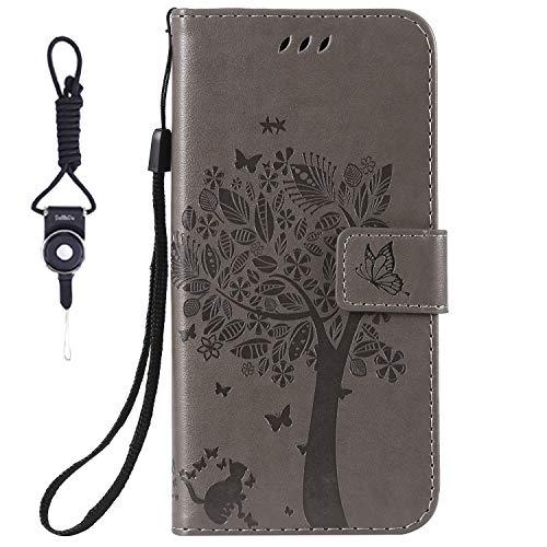 SsHhUu HTC Desire 825 Hülle, Echt PU Leder Hülle Kartenfach Standfunktion Magnet Ledertasche + Schlüsselband für HTC Desire 825 (2016) / Desire 10 Life Style (5.5 Zoll) Grau