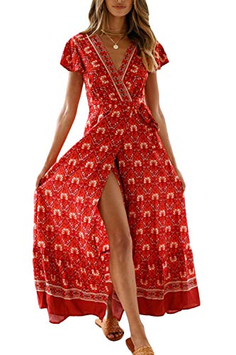 Vestido Mujer Bohemio Largo Verano Playa Fiesta Floral Manga Corta Cuello en V Talla Split Wrap Maxi Vestidos 5 XL