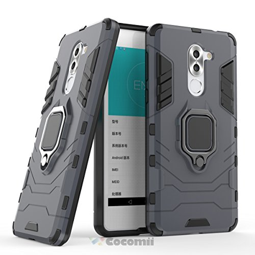 Cocomii Black Panther Armor Huawei Honor 6X/Mate 9 Lite/GR5 2017 Case, Slim Thin Matte Vertical & Horizontal Kickstand Ring Grip Reinforced Drop Protection Bumper Cover for Huawei Honor 6X (Black)