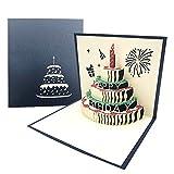 3D Emergente Tarjeta de Felicitación Cumpleaños con Sobre, Creatividad Tarjeta de Cumpleaño de Pastel con Vela Rojo para Familia, Amigo para Cumpleaño, Graduación - Azul