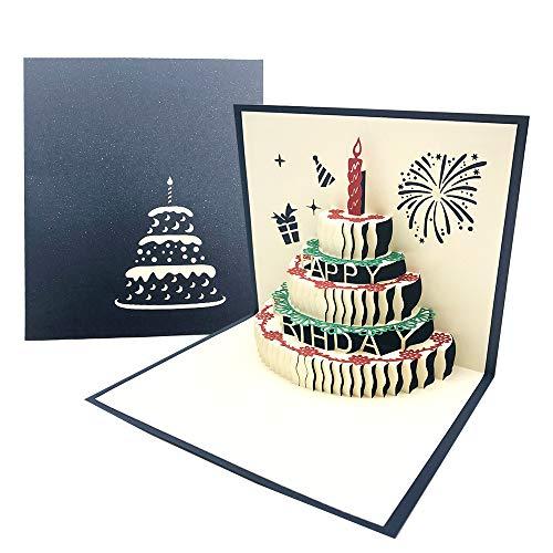 3D Pop-up Geburtstagskarte mit Roter Kerze, 3 Schicht Kuchen Design Handgefertigt Geburtstagskarte mit Umschlag für Familie, Freunde, Kollegen - Blau