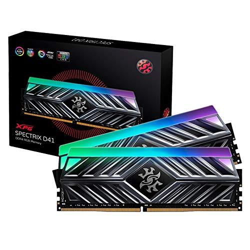 ADATA XPG SPECTRIX D41 16GB (2x8GB) DDR4 3000MHz Gaming-Arbeitsspeicher mit Heatsink, XMP 2.0, titangrau