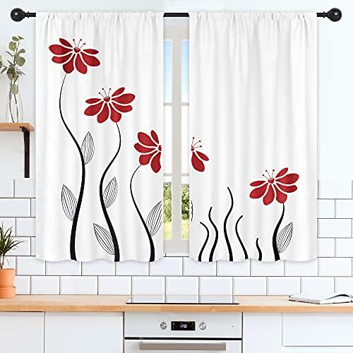Riyidecor - Cortinas de cocina con diseño de flores rojas, 132 x 91 cm, diseño de flores y pétalos florales para varilla, líneas para mujer y niña, color blanco, estampado para sala de estar, dormitorio, ventana, 2 paneles WW-TGNA