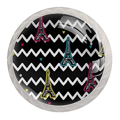 Perillas de gabinete de cocina Perillas decorativas redondas Gabinete Cajones de armario Tirador de tocador 4PCS Torre Eiffel Rayas onduladas blancas y negras