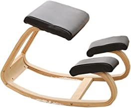 TXC- Corrective Sitting Chair Riding Chair Learning Chair Yoga Chair Solid Wood Chair Durable (Color : Black, Size : PU)