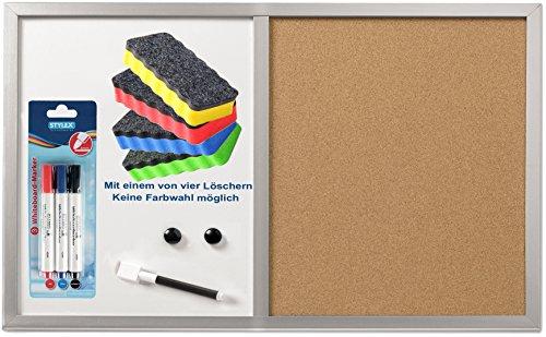 Herlitz 10685394 Pinnwand und Magnettafel, 40x60cm mit Holzrahmen, Silber/Kombi-Set (inkl. Marker & Löscher)
