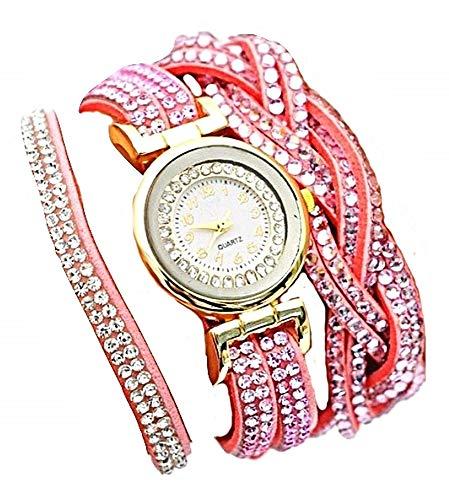 Reloj de Pulsera para Mujer - Elegante - pedrería - Doble Vuelta - Cierre de Clip - Dos ajustes - Color Rosa - Idea de Regalo de cumpleaños