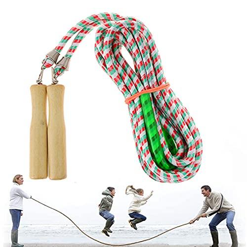 XPUING Cuerda de Saltar, Cuerda de Salto de Longitud con Mango de Madera, para Cuerda de Saltar del Mejor Equipo grupal ara Deportes Escolares y Actividades al Aire Libre
