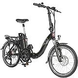 "AsVIVA E-Bike 20"", Faltrad (15,6Ah Samsung Akku), Klapprad, 7 Gang Shimano Kettenschaltung, Bafang Heckmotor, Scheibenbremsen, schwarz"