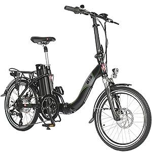 "AsVIVA E-Bike 20"" Klapprad, Elektrofahrrad (15,6Ah Akku), 7 Gang Shimano Kettenschaltung, Heckmotor, Scheibenbremsen, schwarz"