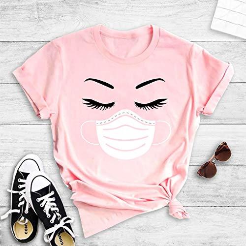 Sky Cloud Ognuno VS COVID-19 Unisex T-Shirt Corta di Modo del Manicotto della Mascherina di Ciglia Stampa Felpa Vest Uomini Donne T Regalo Signore (Color : Pink, Size : 2XL)