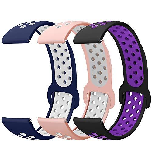 Younsea Correas 20mm para Galaxy Watch Active 2/Active 40mm 42mm, Silicona Reemplazo Correas Compatible con Galaxy Watch 3 41mm/Gear S2 Classic/Gear Sport/Vivoactive 3/ Vivomove HR