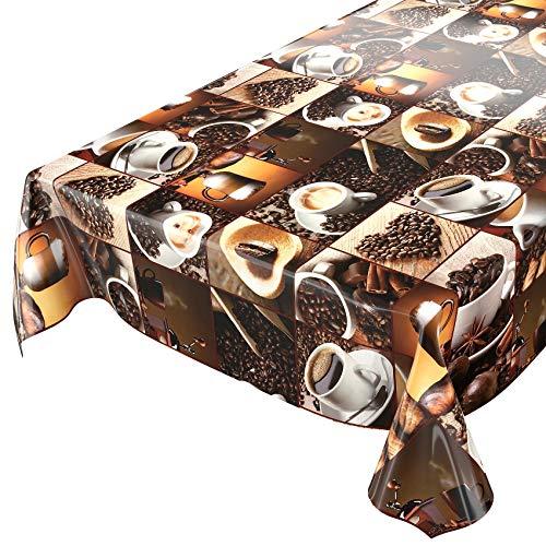 Tela cerata al metro, tovaglia, motivo: caffè e chicchi in quadrati, su misura, lunghezza selezionabile, asciugamani, 120x140cm