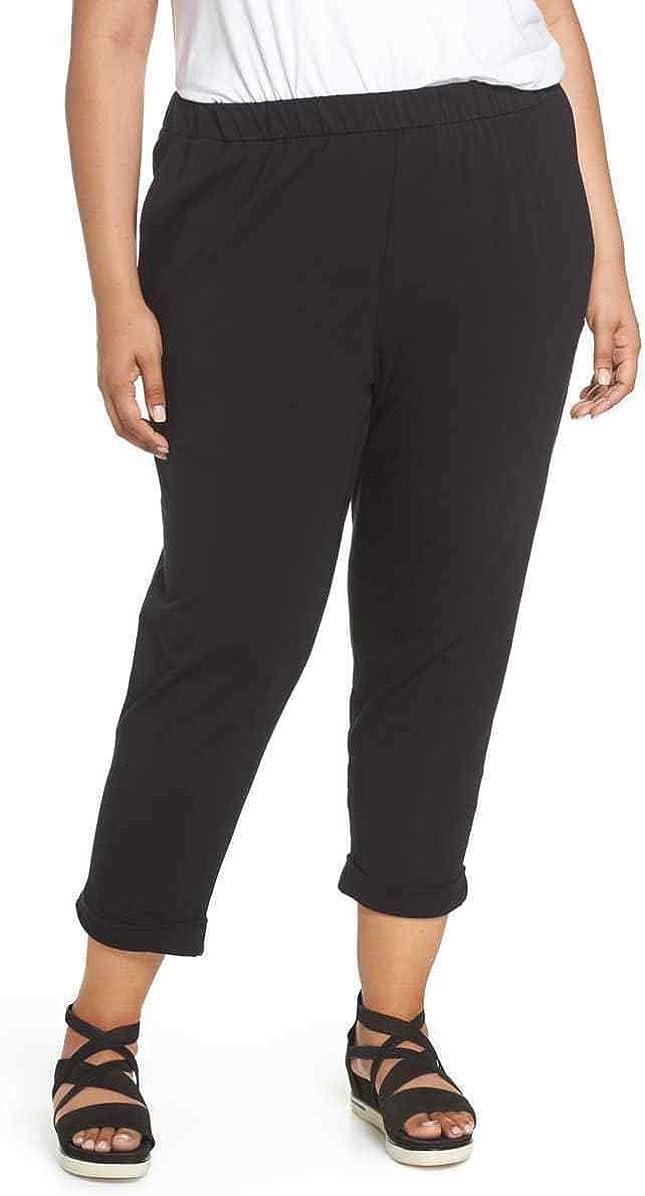 Eileen Fisher Plus Black Organic Cotton Stretch Jersey Slim Pants Size 3X MSRP $148