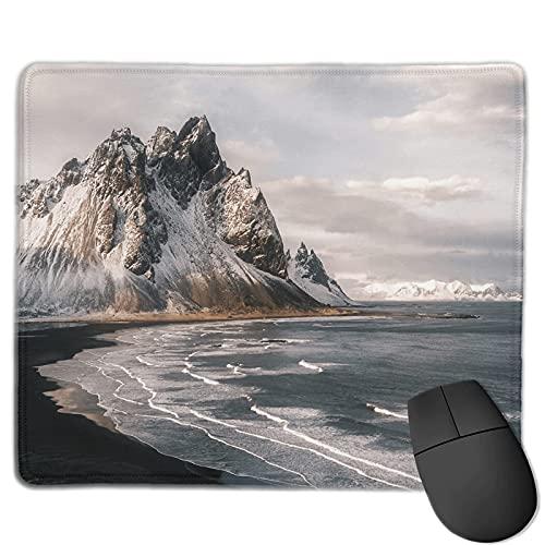 DJNGN Stokksnes islandés, montaña, playa, puesta de sol, paisaje, fotografía, variedad, toalla facial, alfombrilla de ratón grande con borde cosido, 10 x 12 pulgadas, con textura extrafina, alfombrill