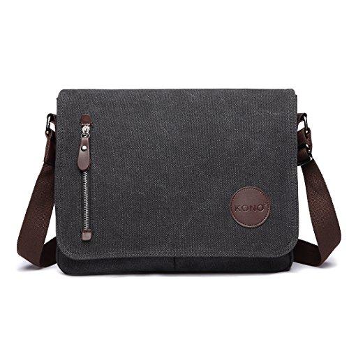 Kono Canvas Messenger Shoulder Bags for Men 13.5 inch Unisex Casual Cross Body Bag Travel Bag for School Travel Work Hiking (Black)