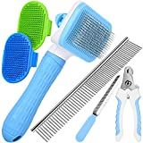 [UPGRADED] Grooming Tool Set for Cats & Dogs, Including Self-Cleaning Slicker Brush, 7.5' Steel Comb, Nail Clippers & File, 2 Bath Brush, Great for Small & Medium Pet with All Hair Types
