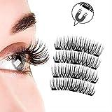 Hui Ding 3D Magnet falsche Wimpern Natürlich dicke drei Magnete Gelfreie falsche Wimpern