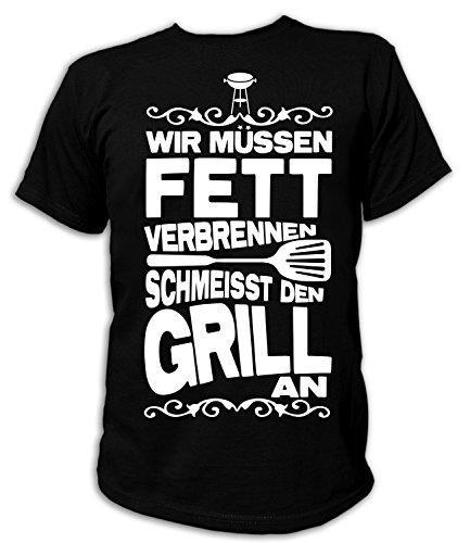 Artdiktat Herren T-Shirt Wir müssen Fett verbrennen - Scheißt den Grill an Größe XXXL, schwarz