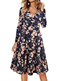 oxiuly Women's Criss-Cross V-Neck Long Sleeve Floral Casual Work Party Tea Swing Dress OX233 (2XL, Blue Pink P9) (Apparel)