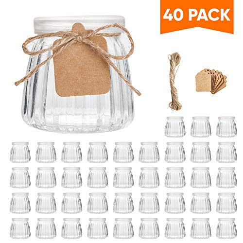 Small Yogurt Jars,Encheng 4 oz Clear Glass Jars With Lids,Glass Yogurt Container With Caps(PE),Replacement Glass Pudding Jars,Clear Glass Containers For Milk,Ramekin,Jams,Jelly,Mousse 40 Pack …