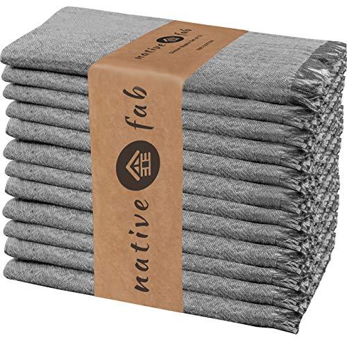 Native Fab 12er-Set Baumwolle Stoffservietten 46x46 cm für Veranstaltungen Hochzeit regelmäßige Heimnutzung, Weich Bequem Maschinenwaschbar Wiederverwendbare Servietten Grau