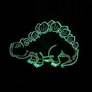 Lampe de Table Dessin animé Dinosaure lumière LED dégradé coloré 3D stéréo Tactile à Distance USB veilleuse Table de Cheve...