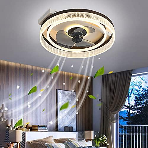 Home Ventilador Plafon Luces LED Techo Dimable Delgado Ventiladores de Techo Con Luz y Mando A Distancia Lámpara Ventilador Potente Silencioso Bajo Consumo Temporizador Salon Comedor