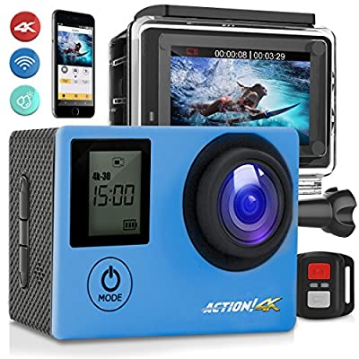 """SereneLife 4K Ultra HD WiFi Pro Sport Action Camera - 1080p UHD Sports Mini Digital Video Camcorder Kit w/ 2"""" Monitor Screen - Waterproof Case, Strap, Helmet Mount Accessories Included - SL4KDSBL by Sound Around"""