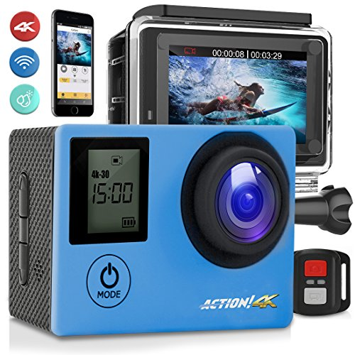 SereneLife 4K Ultra HD WiFi Pro Sport Action Camera - 1080p UHD Sports Mini Digital Video Camcorder Kit w/ 2' Monitor Screen - Waterproof Case, Strap, Helmet Mount Accessories Included - SL4KDSBL