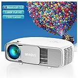 """Vidéoprojecteur 7200 Lumen Bluetooth, Natif 1920x1080P Full HD, WiMiUS S4 LCD Rétroprojecteur, pour Home Cinéma 300"""", LED Projecteur, Supporté 4K, pour Fire TV Stick, PS4, PC, iPhone, Tablette, DVD,"""