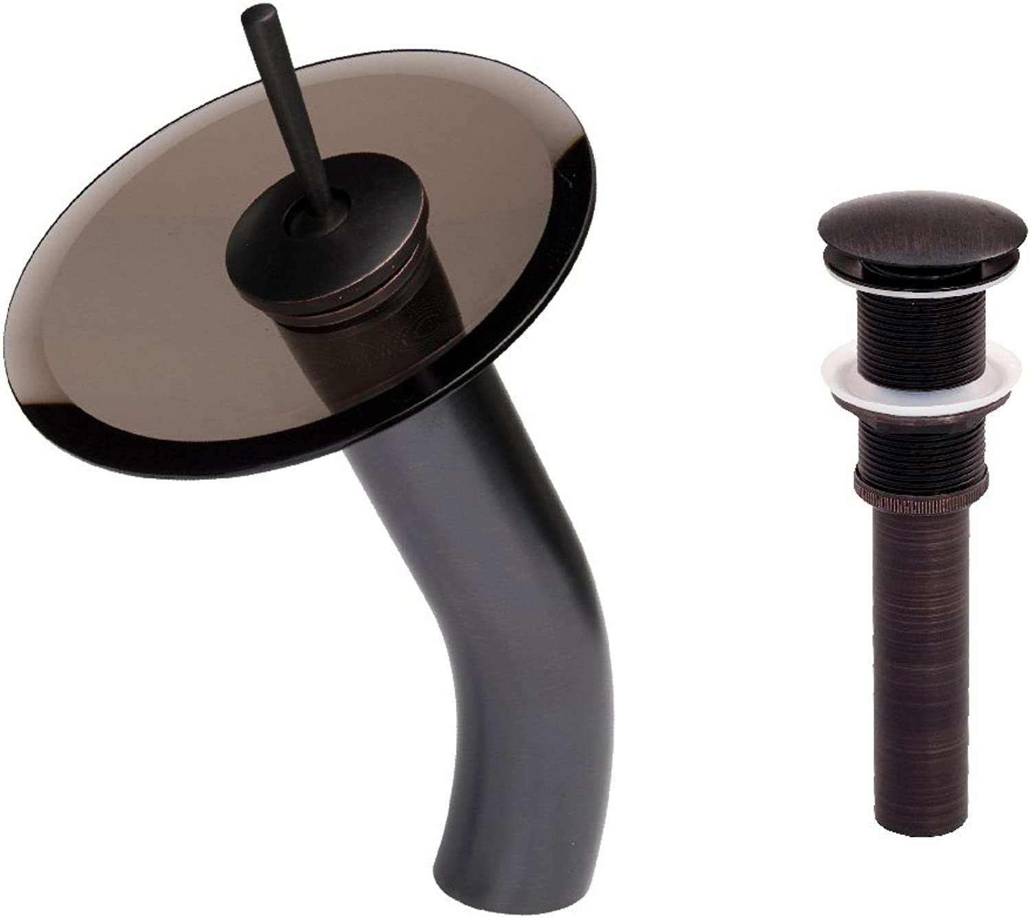 Novatto GF-001ORB-T-PUD Brown Glass Waterfall Vessel Faucet and Pop-up Drain, Oil Rubbed Bronze