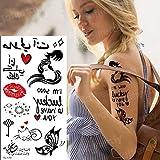 Handaxian 3 Piezas Tatuaje y Arte Corporal Impermeable Chica Tatuaje Pegatina niño Tatuaje Negro Beso Pegatina Sirena corazón