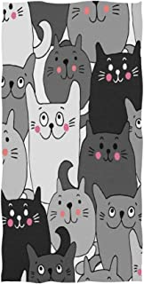ALAZA Cats Hand Towel Yoga Gym Cotton Face Spa Towels Absorbent Multipurpose for Bathroom Kitchen Hotel Home Decor Set 15x30 Inch