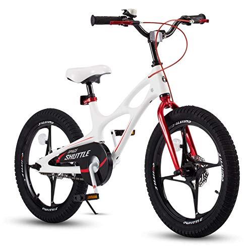 RoyalBaby Bicicleta Infantil para niños y niñas Bicicletas Infantiles Space Shuttle Ruedas auxiliares Bicicleta para niños Magnesio Bicicleta de Niño 14 Pulgadas Blanco