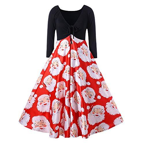 VEMOW Herbst Mode Elegant Damen Abendkleid Frauen V-Ausschnitt Bänder Frohe Weihnachten Weihnachtsmann Print Party Dating Midi Kleid (Rot, 32 DE/S CN)
