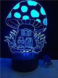 3D anime ilusión lámpara LED noche luz magia setas estéreo creativo habitación pequeña oficina lámpara 7 color cambiante noche sueño lámpara