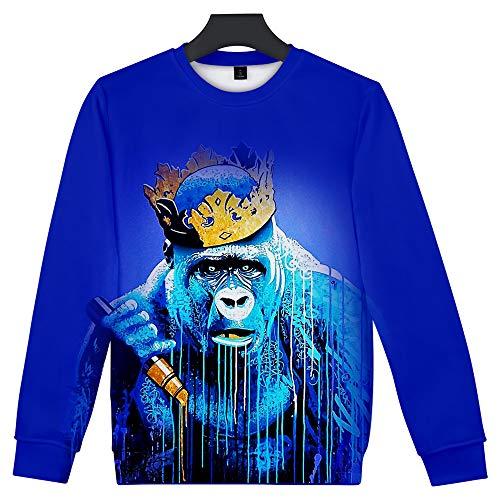 Khcr-CL Unisex 3D Druck Gorilla Sweatshirt Herbst Winter Erwachsener Langarm runder Kragen Lässige Kleidung Warm halten Lockerer Stil Paar,K,S