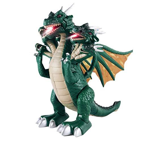 Draakspeelgoed voor kinderen, zeefkoppen wandelen draak LED lichten op en gaan realistische dinosaurus met geluid dinosaurus speelgoed voor kinderen