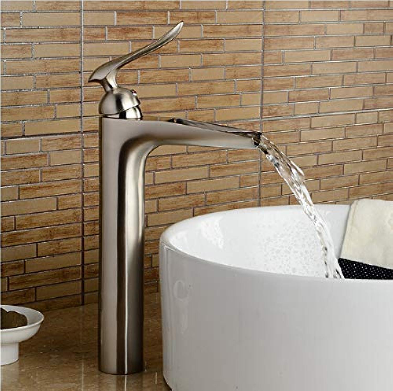 YHSGY Waschtischarmaturen Nickel Gebürstet Schwarz Waschbecken Wasserhahn Einhand-Einloch-Waschbecken Wasserhahn Kalt Und Hei Wasserfall Wasserhahn