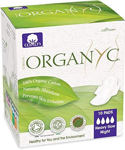 Organyc Lot de 10 serviettes hygiéniques en coton bio avec ailes