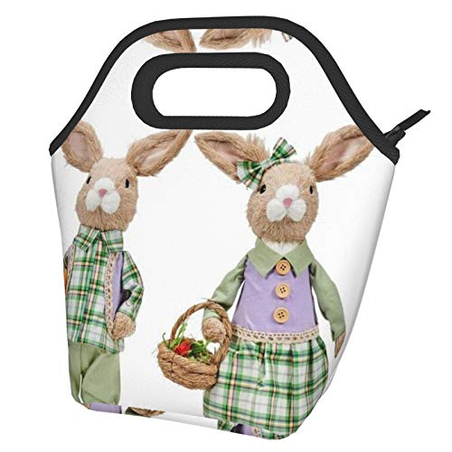 Bolsas de almuerzo con aislamiento portátil para mujer, diseño de conejo de Pascua con bolsillo frontal, reutilizable, para hombres, adultos, niñas, trabajo, escuela, picnic