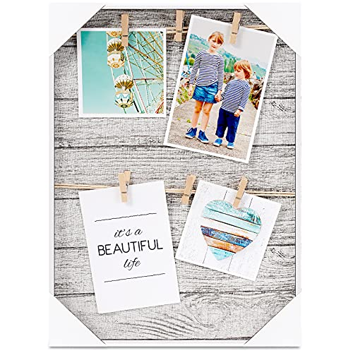 HANTAJANSS Clip Photo Holder  Picture Display Frame  Photo Collage Board  Wood Hanging Frames with 6 Clips for Home Wall Decor  12 ×16 Inches