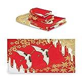 TropicalLife iRoad - Juego de toallas de algodón (3 piezas, grulla japonesa de cerezo, arce, muy absorbentes, toallas de mano, juego de toallas de baño, cocina