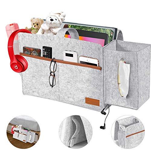 O'woda Filz Betttasche, Anti-Rutsch Sofa Organizer mit Tücherbox und Flaschenhalter - Matratze/Hochbett, mit 4 Tiefen Tasche für Buch, Zeitschriften, iPad, Handy, Fernbedienung (Stil 1 - Hellgrau)