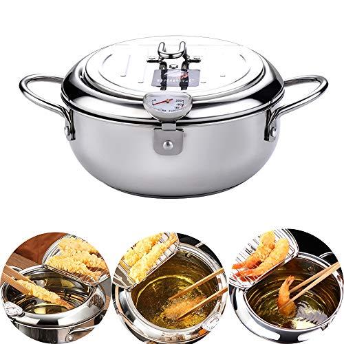 304 Stainless Steel Temperature Control Fryer Pot, Multifunctional Tempura Fryer With Thermometer and Lid (24cm/9.4inch)