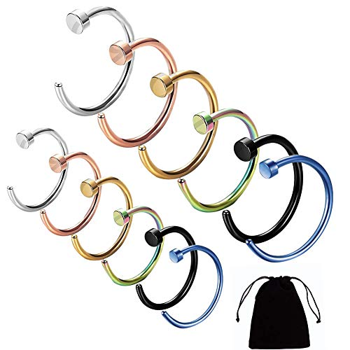 12 PCS Fake Nose Rings, Stainless Steel Open Nose Ring Faux Clip On Hoops Earrings Thin Small Nose Ring Hoop 8MM Fake Septum Nose Hoop Lip Rings Body Piercing Jewelry With Velvet Bag For Women Men