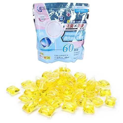 RUIRUIY - Lote de 60 cápsulas de 3,3 g de perfume para disolver el limpiador de dosis de detergente y suministros de lavado de ropa (incienso de coco amarillo)